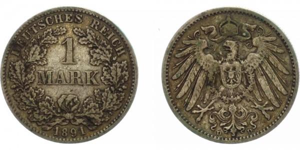 Deutsches Reich 1 Mark 1891 D Großer Adler