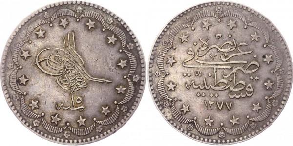 Osmanisches Reich 20 Kurus AH 1277 (1861) Sultan Abdülaziz (1861 - 1875)