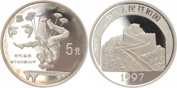 China 5 Yuan 1997 - Akrobatin als Schlangenmädchen