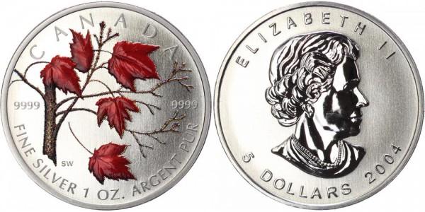 Kanada 5 Dollar 2004 Maple Leaf, farbig - Herbst