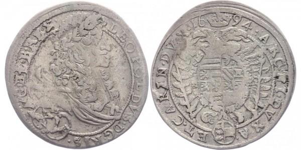 RDR, Habsburg 15 Kreuzer 1694 CS (St. Veit) Leopold I. 1657-1705