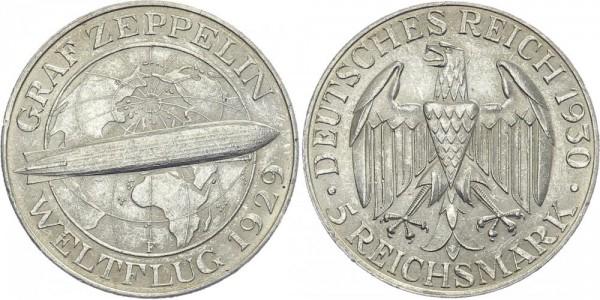 Weimarer Republik 5 Mark 1930 F Graf Zeppelin