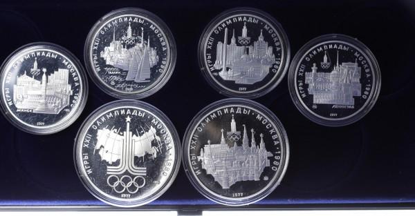 Russland 2x 5 & 3x 10 Rubel 1977-1980 - Olympiade Moskau