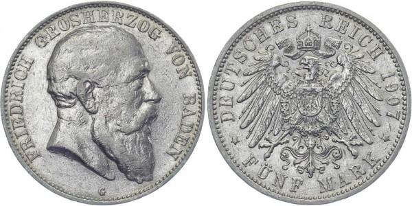 BADEN 5 Mark 1907 G Friedrich I.