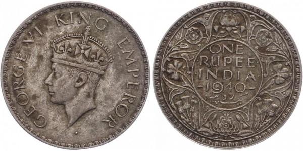 Britisch-Indien 1 Rupie 1940 Bombay Georg VI.