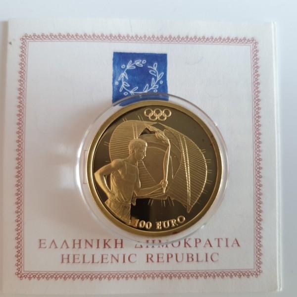 Griechenland 100 Euro 2004 Olympiade Athen, Fackelläufer (Torch runner) PP