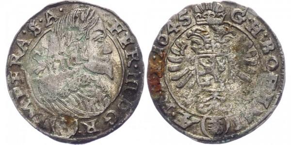 RDR, Habsburg 3 Kreuzer 1645 Prag Ferdinand III. 1637-1657