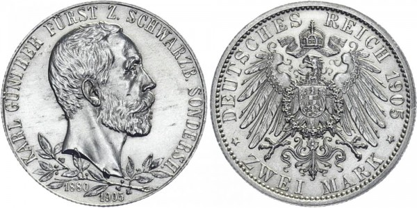 SCHWARZBURG-SONDERSHAUSEN 2 Mark 1905 A Karl Günther Jubiläum