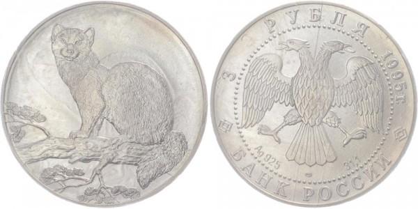 Russland 3 Rubel 1995 - Zobel