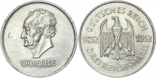 Weimarer Republik 3 Mark 1932 A Goethe