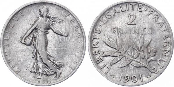 Frankreich 2 Francs 1901 - Kursmünze