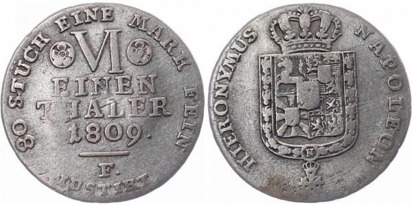 Westfalen 1/6 Taler 1809 F, seltene Prägestätte! Hieronymus Napoleon