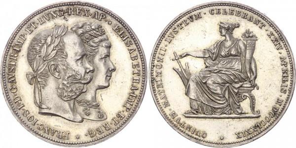 Österreich 2 Gulden 1879 - Franz Joseph, 1848-1916, Auf die Silberhochzeit mit Sissi