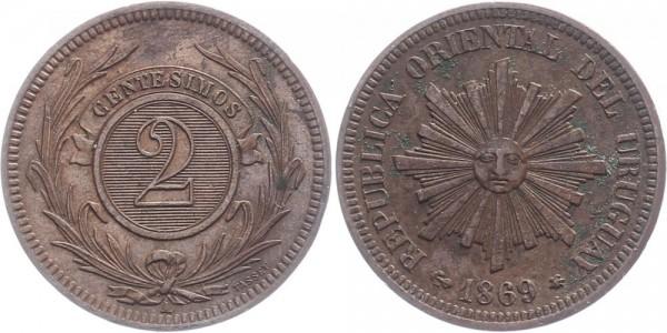 Uruguay 2 Centesimos 1869