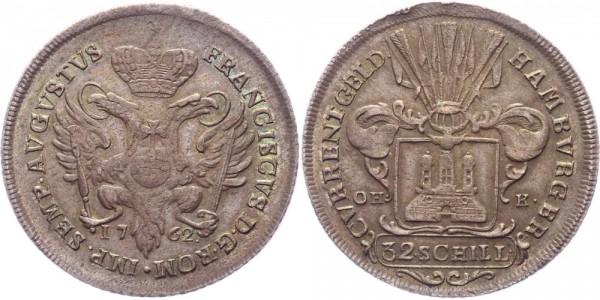 Hamburg Stadt 32 Schilling 1762 Reichsdoppeladler und Stadtwappen