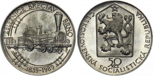 CSSR 50 Kč 1989 - 150 J. Zugstrecke Breclav nach Brno