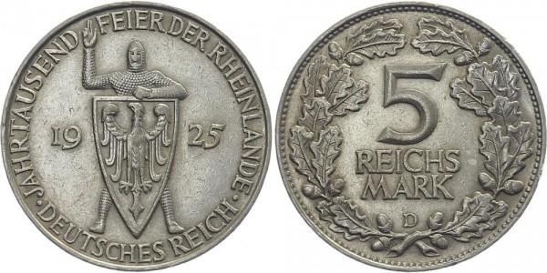 Weimarer Republik 5 Mark 1925 D Rheinlande
