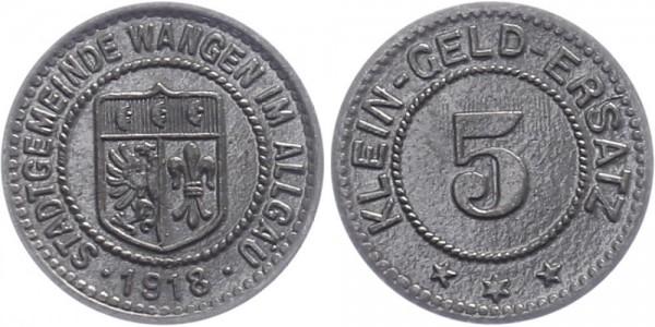 Wangen 5 Pfennig 1918 - Stadtgemeinde