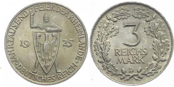 Weimarer Republik 3 Mark 1925 D Rheinlande