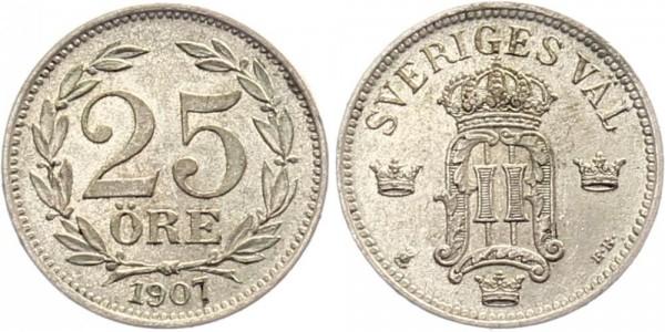 Schweden 25 Öre 1907 - Oskar II.