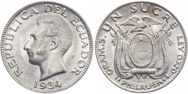 Ecuador 1 Sucre 1934 - Kursmünze