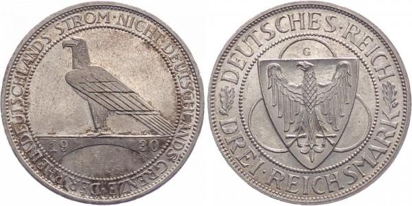Weimarer Republik 3 Reichsmark 1930 G Rheinland-Räumung