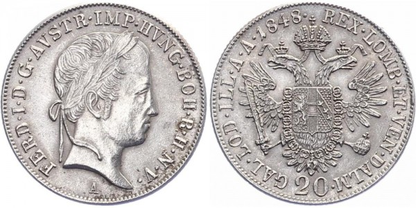 Österreich 20 Kreuzer 1848 A Kursmünze