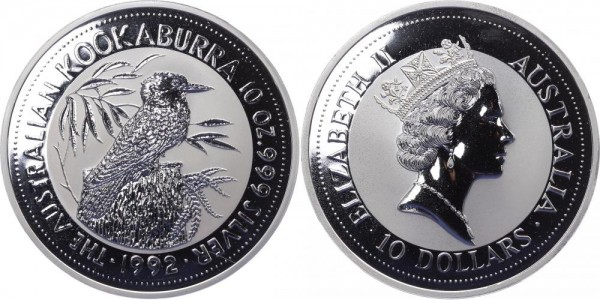 Australien 10 Dollars 1992 - Kookaburra - Lunar Serie
