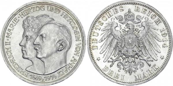 ANHALT 3 Mark 1914 A Friedrich II. Silberhochzeit