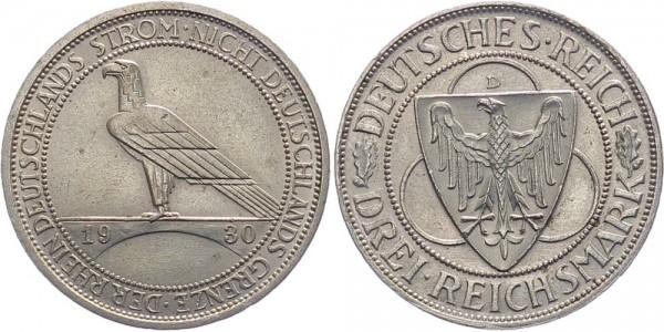 Weimarer Republik 3 Reichsmark 1930 D Rheinland-Räumung