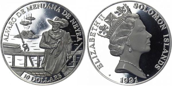 SALOMONEN 10 Dollars 1991 - Alvaro de Mendaña de Neyra