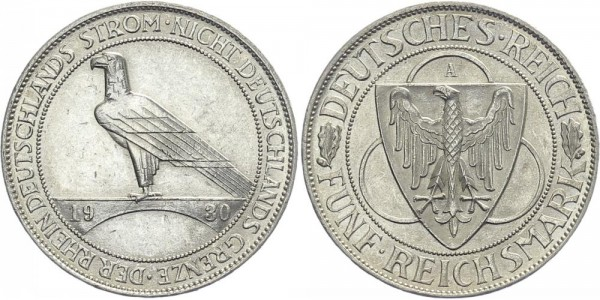 Weimarer Republik 5 Mark 1930 A Rheinlandräumung