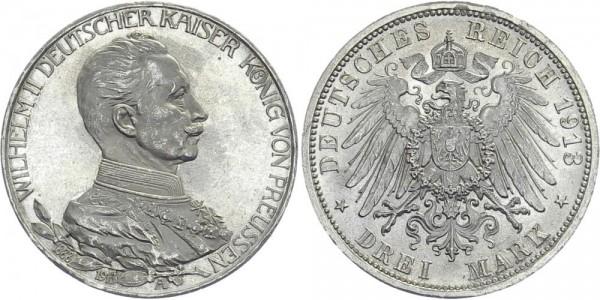PREUSSEN 3 Mark 1913 A Wilhelm II. mit Uniform
