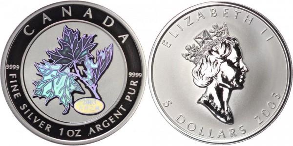 Kanada 5 Dollar 2003 Maple Leaf mit Good Fortune Hologramm