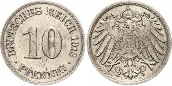 Kaiserreich 10 Pfennig 1913 D Kursmünze