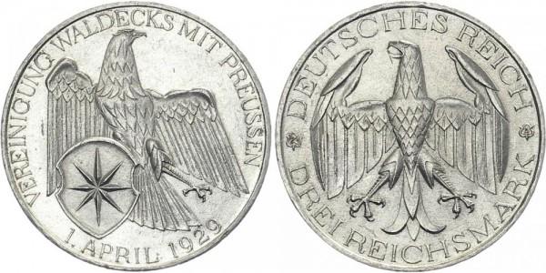 Weimarer Republik 3 Mark 1929 A Waldeck