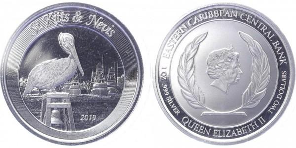 St. Kitts & Nevis 2 Dollars 2019 - Brauner Pelikan
