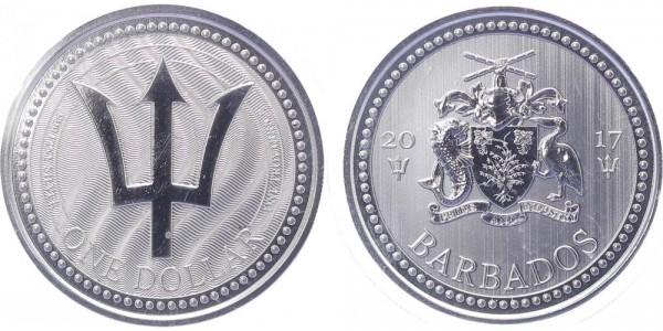 Barbados 1 Dollar 2017 - Dreizack