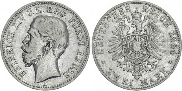 REUSS JÜNGERER LINIE 2 Mark 1884 - Heinrich XIV.