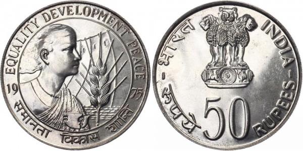 Indien 50 Rupien 1975 Mumbai FAO: Jahr der Frau