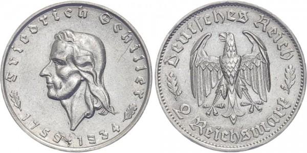 Drittes Reich 2 Mark 1934 - Friedrich Schiller