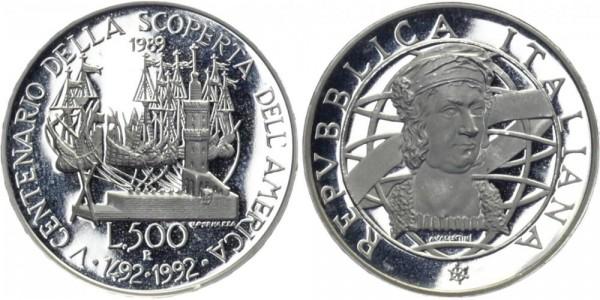 ITALIEN 500 Lire 1989 - Centenario della Scoperta