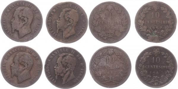 Italien 4x 10 Centesimi 1863-1867 - Vittorio Emanuelle II.
