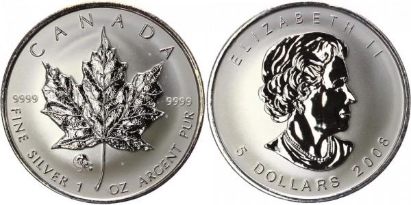 Kanada 5 Dollar 2008 Maple Leaf Chinesischer Kalender Ratte - Chinese Lunar Rat