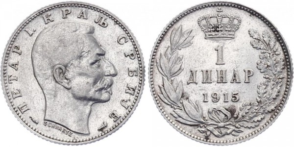 Serbien 1 Dinar 1915 - Kursmünze