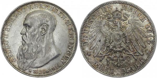 SACHSEN-MEININGEN 3 Mark 1915 D Georg II. Auf den Tod