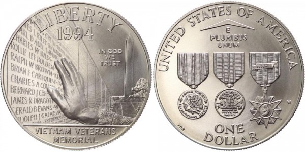 USA 1 Dollar 1994W West Point Vietnam Veterans Memorial