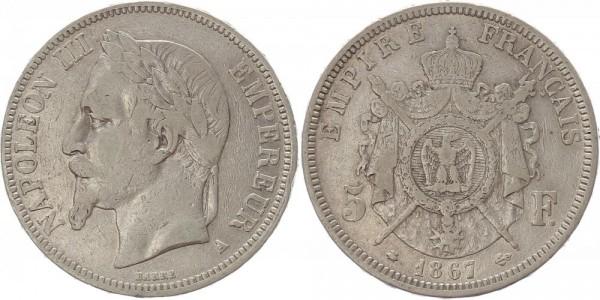 Frankreich 5 Francs 1867 - Napoleon III.