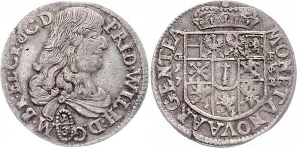 Brandenburg-Preussen 1/3 Taler 1671 GF (Krossen) Friedrich Wilhelm