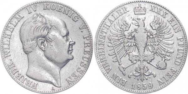Preußen 1 Vereinstaler 1859 A Firedrich Wilhelm IV.